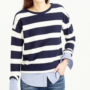 J. Crew Striped T-Shirt with Shirttail Hem H1829